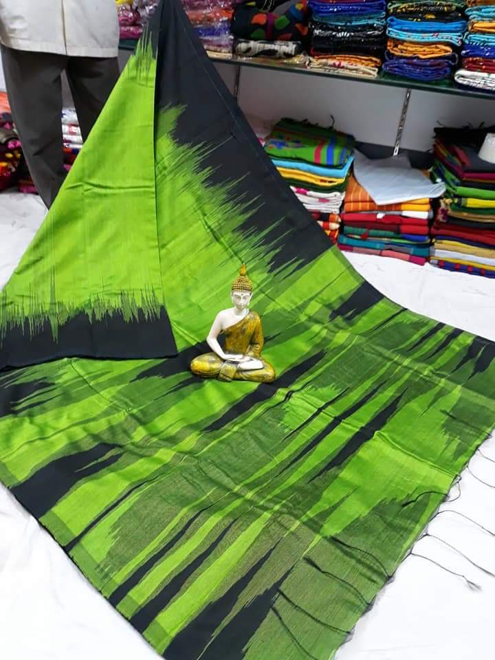 Ikkat pattern cotton silk handloom saree