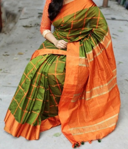 Cheak cotton silk handloom saree