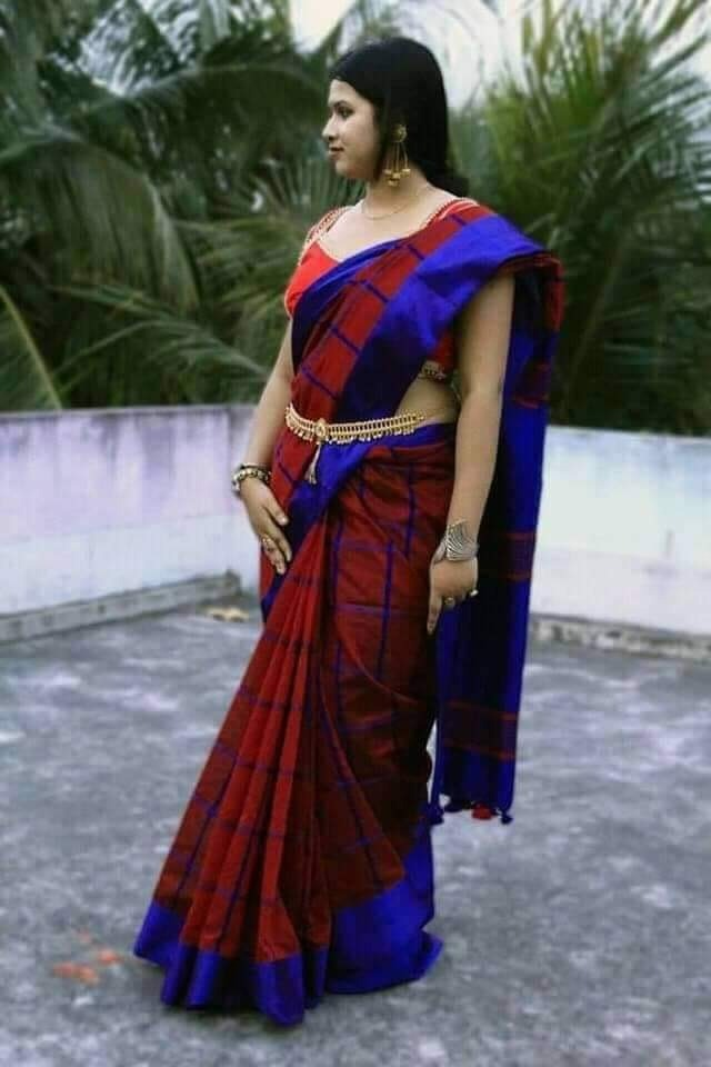 Cheak cotton silk handloom saree