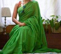 Plain khadi  handloom saree