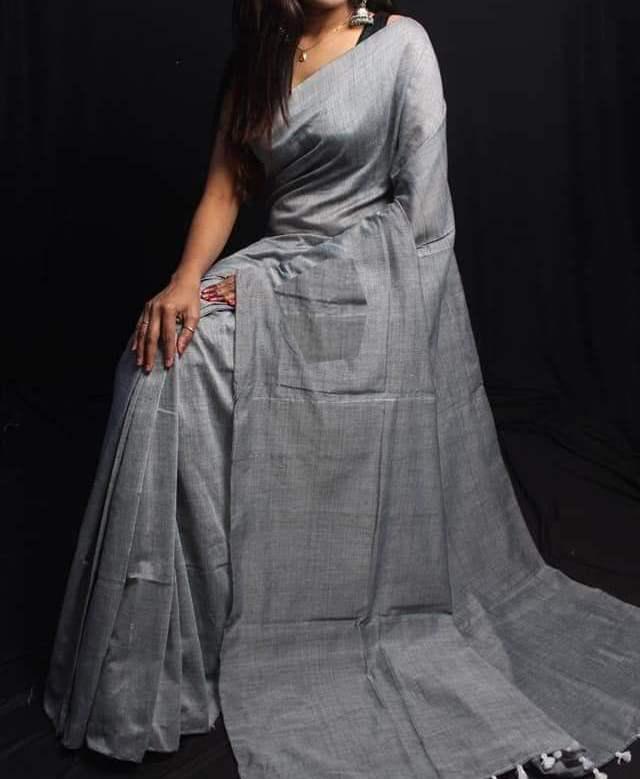 Plain  handloom saree