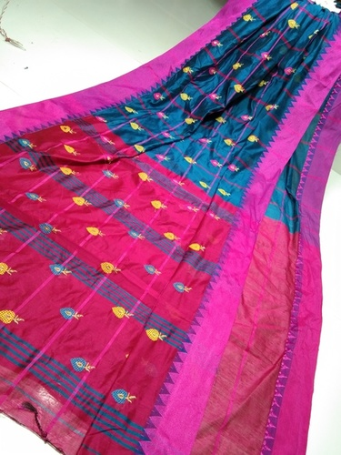 Cotton silk litchi designer saree