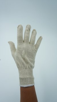 Natural White Cotton Knitted Gloves