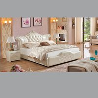 White Color Leather Bed