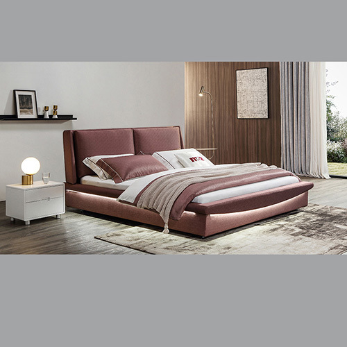 Brown Color Leather Bed
