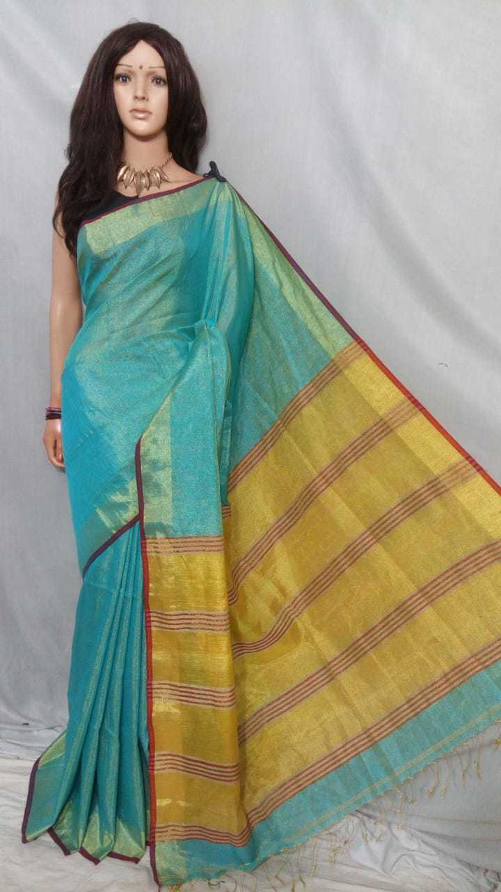 Tissue linen handloom saree