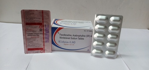 Acebrophylline 200mg, Fexofenadine 120mg and Montelukast 10mg Tablets