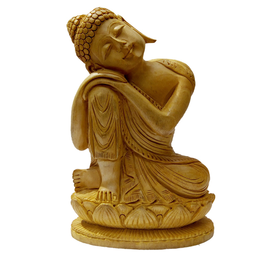 Wooden stetu Lord Buddha Sleeping Idol Home Decor,Showpiece 15cm