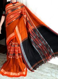 Pure khadi  fish design  saree