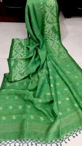 80 count linen threads  used linen ball handloom saree