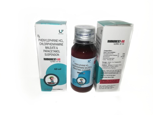Phenylephirne 5mg, Chlorpheniramine 2mg & Paracetamol 250mg Suspension