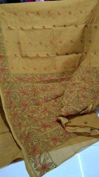 Cotton hand stitched kantha saree