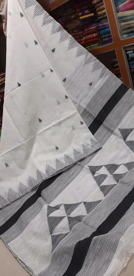Cotton silk triangle design handloom saree