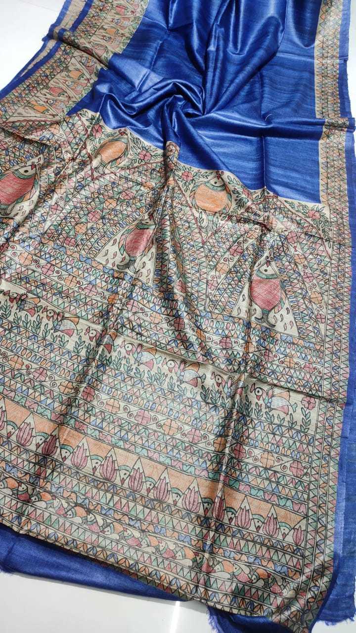 Pure tossor Madhubani hand paint saree