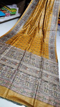 Pure tossor madhubani screen print saree