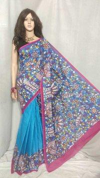 Cotton screen print saree