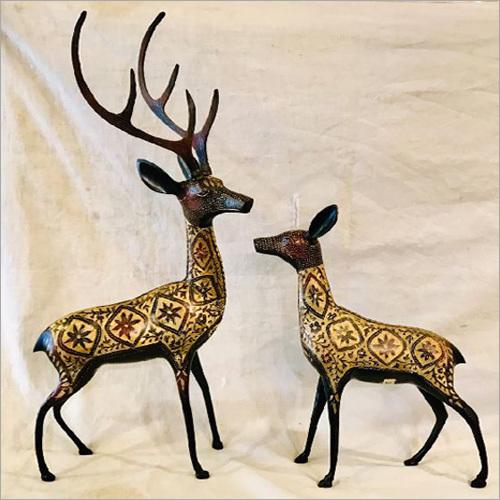 Brass Deer Statue Set