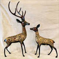 Brass Deer Statue Set