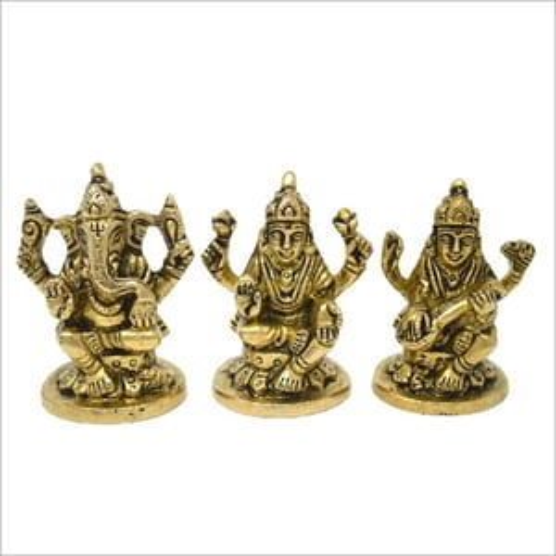 Brass Ganesh Laxmi Saraswati Statue