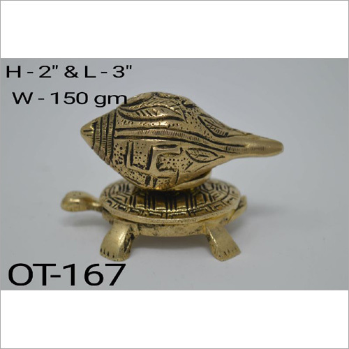 Brass Conch with Tortoise