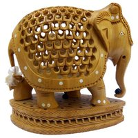 Wooden Under Cut Elephant with Base Showpiece Rajasthani Handicrafts15 cm