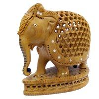 Wooden Under Cut Elephant with Base Showpiece Rajasthani Handicrafts15 cm