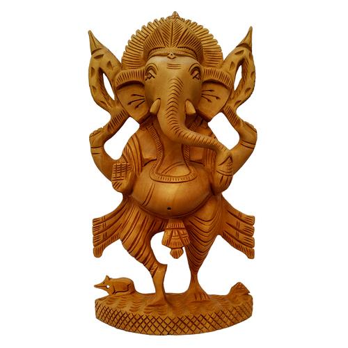 Wooden Lord Ganesha Statue Idol