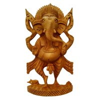 Wooden Hand Crafted Lord Ganesha Statue Standing Position Art by Apnoghar