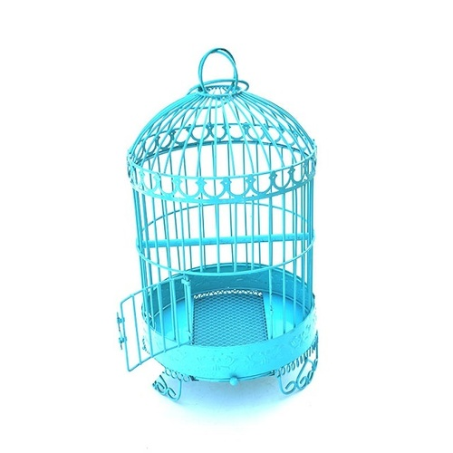 Small Blue Round Cast Iron Bird Cage For Feeding Birds
