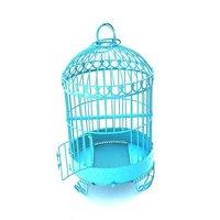 Small Blue Round Cast Iron Bird Cage For Feeding Birds