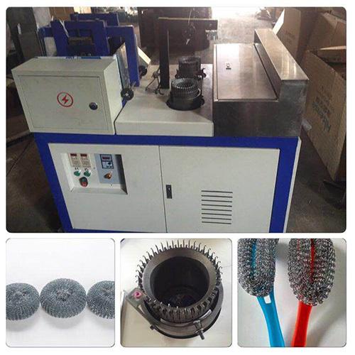 Automatic Kitchen Mesh Scourer Making Machine With Two Needles Scrubber Making Machine