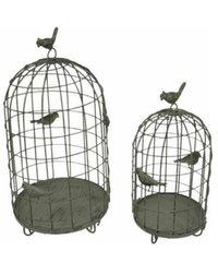 2- Piece Birds on Cages Rustic Metal Decorative Birdcage Set