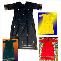 Chanderi Silk Hand Embrodery Worked Long Kurti