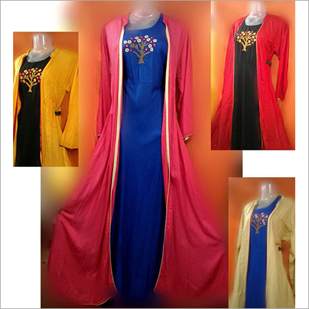 Rayon Floor Length Jacket Gown With Hand Embrodery