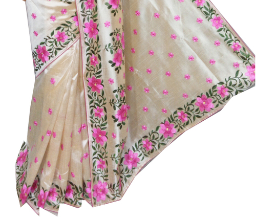 Assam silk rose embroidery saree