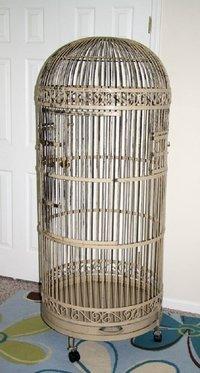 Large Vintage Wrought Iron Ornate Beige Bird Cage