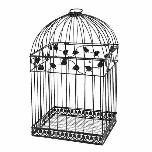 Black Metal Wedding Bird Cage Card Holder