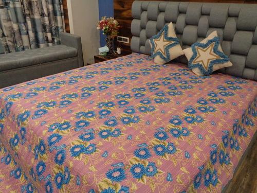 Floral Design Kantha Quilt King Size