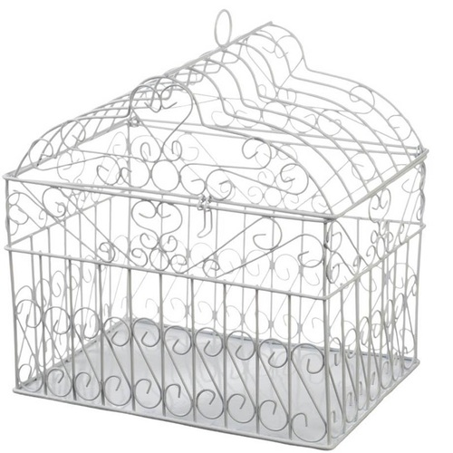 Metal Bridal Birdcage Card Holder- White