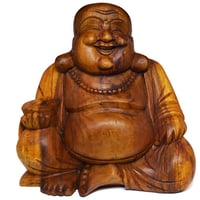 Wooden Carved Laughing Buddha Sculpture