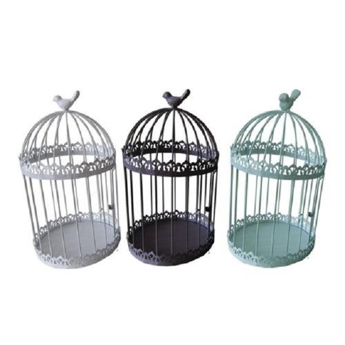 Round Metal Decorative Bird Cage with Bird - Set of 3