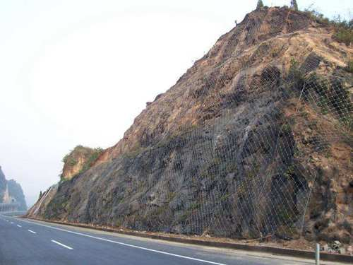 FALLING-ROCK PROTECTIVE FENCE