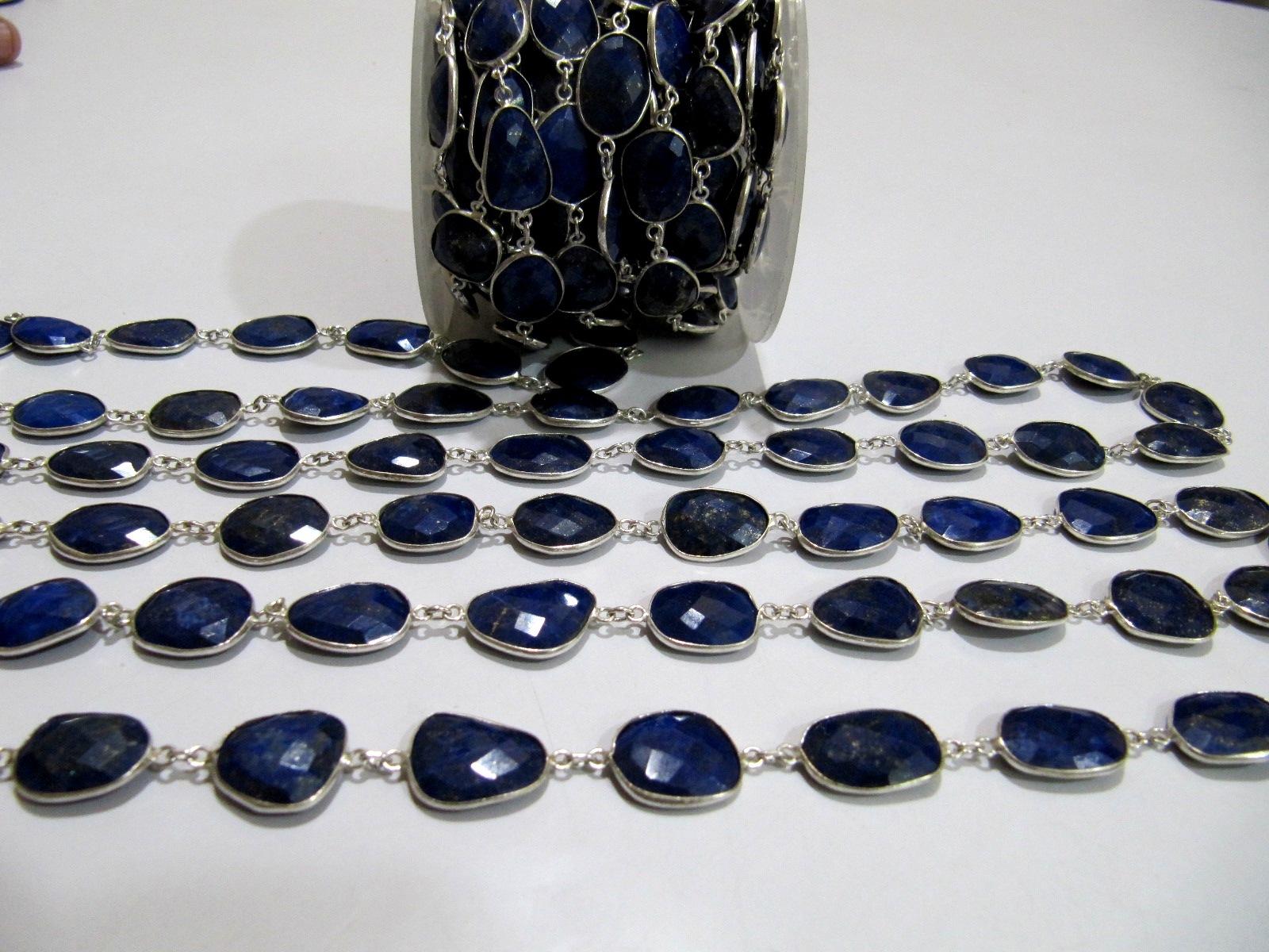 Natural Lapis Lazuli Briolette Connector Chain.