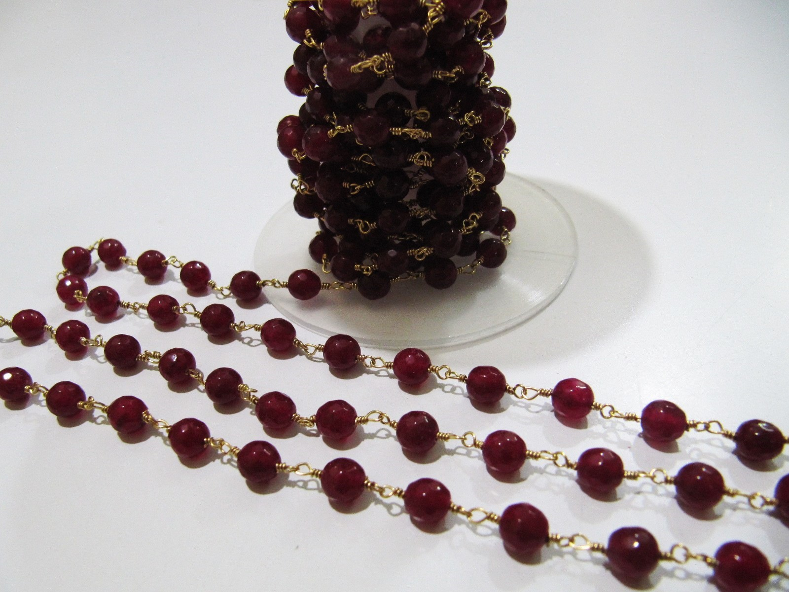 3Feet Natural Ruby Jade Chalcedony Round Beads 6mm Rosary beaded