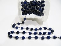 3 Feet Natural Blue Sapphire Jade Round 6mm Rosary Chain