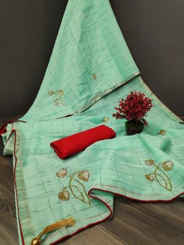 Linen Saree With Handwork
