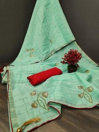 Linen Saree With Handwork