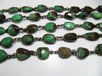 Natural Chrysoprase Connector Chain Uneven Shape , 12 to 15mm
