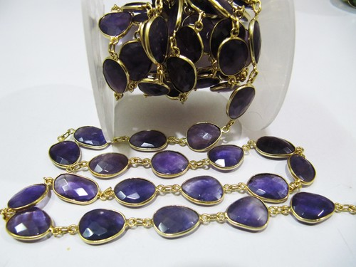 Natural Amethyst Connector Chain Uneven Shape , 12 to 15mm