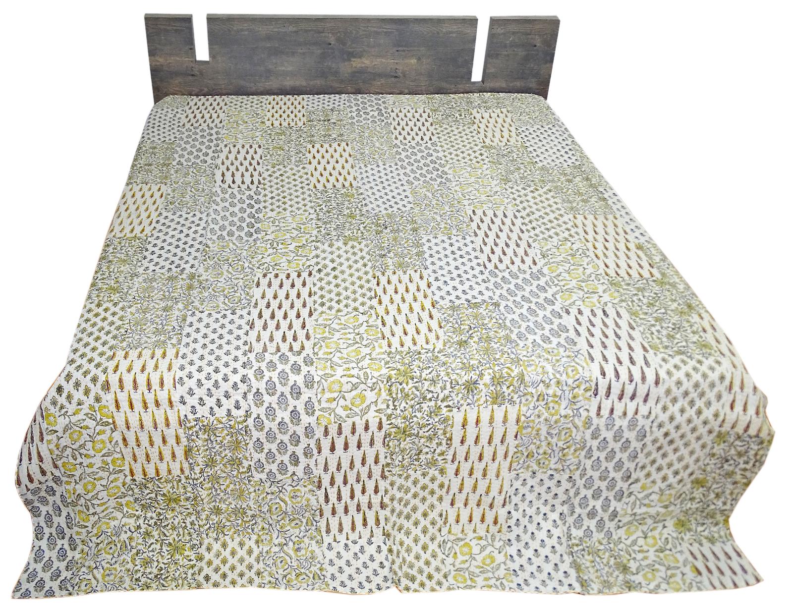 Hand Block Print Kantha Quilt King Size